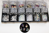Top Multi-Shape AB Crystal Flat Shape Rhinestone + Pixie 3D Nail Art Decoration DIY
