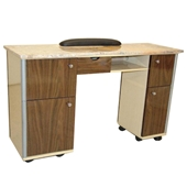 Nail Table Brown Wood Color (Marble Top Grey)