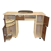 Nail Table Brown Wood Color (Marble Top Yellow)